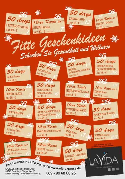 LAVIDA 50 days Gutschein, versch. Leistungen nur 59.- €
